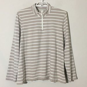 Orvis Quarter Zip Striped Sweatshirt Beige White